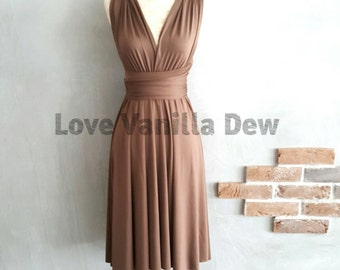 Bridesmaid Dress Infinity Dress Straight Hem Brunette Brown KneeLength Wrap Convertible Dress Wedding Dress