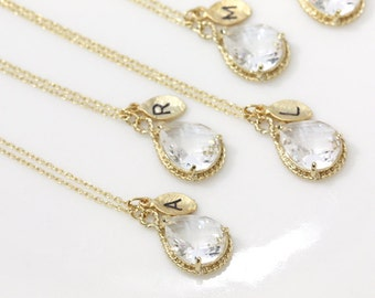 Bridesmaid gifts - Set of 7, 8, 9 - Leaf initial, Clear white crystal drop necklace, Gorgeous Drop ,stone in twisted bezel, Initial necklace