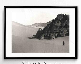 Sahara Print, Sahara shadows photograph, Sahara Desert, Black and White desert dune, Sahara photo, home decor, Landscape Sahara, Desert art