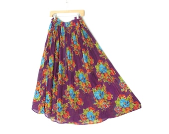 vintage floral skirt * sweeping maxi skirt * crinkle skirt * broom skirt * gauze skirt * medium - large