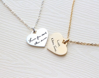Actual Handwriting Heart Necklace - Personalized Signature Necklace - Memorial Jewelry - Sterling Silver Necklace - Christmas Gift