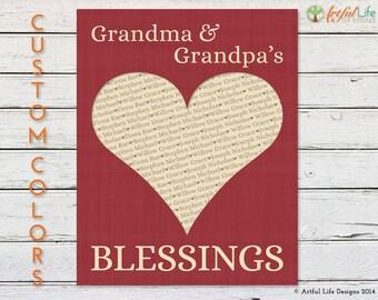 GRANDPARENT GIFT, Grandchildren Print, Gift for Nana, Gift for Grandma, Grandkids Wall Art, Grandkids Names, Grandma Grandpa Gift, From Kids