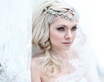 Bridal hair accessories / bohemian headband with crystals