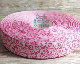 "ON SALE Shocking Pink Swirl Grosgrain Ribbon,7/8"", 3 yards, Hair Bows, Scrapbooks, Craft Projects, Baby Headbands, DIY, Wholesale Supplies"