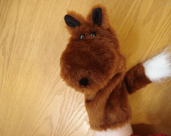 Red Fox moveable mouth White Tipped Tail Hand Puppet