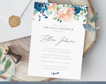 Bridal Shower Invitation Template, Blue and Peach Floral Invitation Printable, Bridal Shower Invite, Instant Download, Editable PDF - 101BR