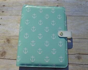 A5 Planner Binder, A5 Planner, Anchor Planner, Nautical Print Planner, Aqua Planner, Gold Ring Planner, Cute Planner, Aqua Anchors Binder