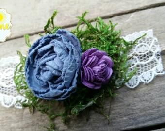 Newborn tieback, photo prop, newborn tieback, newborn flower crown, vintage tieback, boho tieback, vintage headband, moss crown, purple