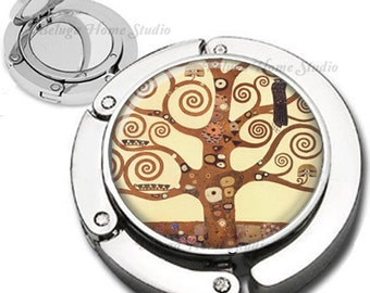Klimpt Tree of Life Purse Hook Bag Hanger With Lipstick Compact Mirror