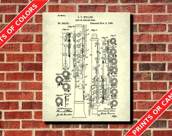 Oboe Patent Print, Oboe Blueprint Musician Gift Music Room Decor Musical Instruments Poster Orchestra Poster Living Room Decor