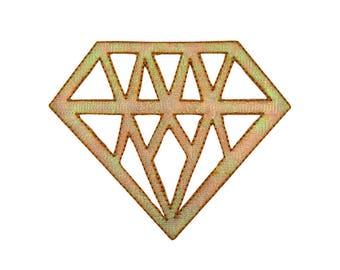 Gold Diamond Iron On Applique, Diamond Patch, Diamond Applique, Sequin Patch, Fun Patch, Kids Patch, Embroidered Patch