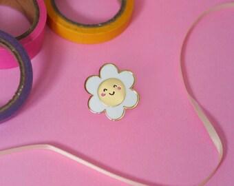 Happy Daisy Enamel Lapel Pin | cute hat pin badge flower summer spring floral