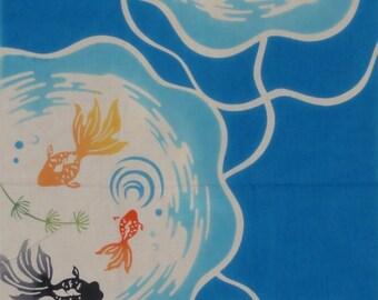 Tenugui 'Goldfish Bowls' Cotton Japanese Goldfish Fabric w/Free Insured Shipping
