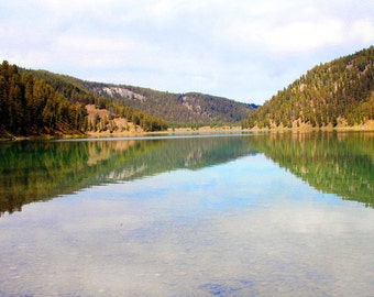 Wade Lake Montana 5x7 Fine Art Photograph - Nature Photography - Serene Lake in the Morning - Blue Sky Reflection - Wall Art Decor - Gift
