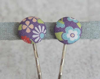 May Flowers, Fabric Covered Button Bobby Pin Pair