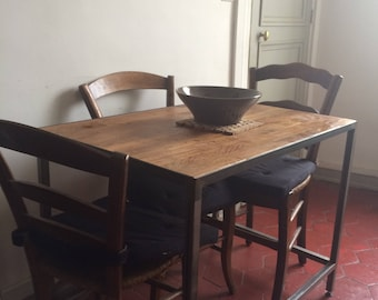 Small steel, wooden tray table