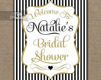 Bridal Shower Signs - Black & Gold Bridal Shower Welcome Sign - Printable Bridal Welcome Sign - Black White Stripes Bridal Shower Sign - BGL