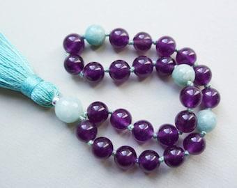 Amethyst & Amazonite Mini Mala Beads / 27 Mala / 8mm Prayer Beads / Meditation Jewelry / Crown Chakra / Pocket Mala / Yoga Gift Mint Tassel
