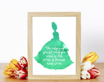 Disney Princess Tiana Hard Work Quote Inspirational Art Prints A4