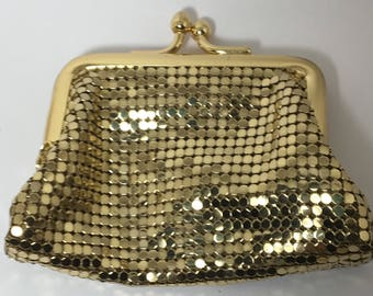 Sale  Vintage Whiting and Davis Mesh Change Purse Gold Color Chainmaille