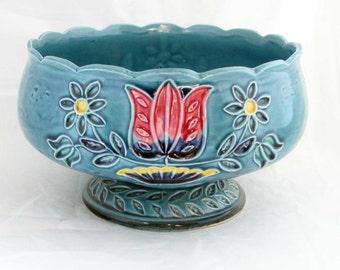 Napcoware Blue Tulip Schale Keramik Pflanzgefäß C-7548