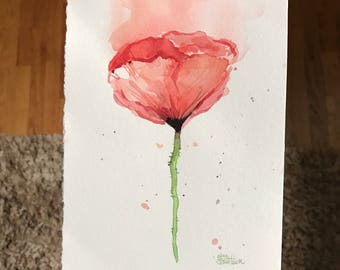 Red Poppy Flower Watercolor Painting Poppies Abstract Flower Red Floral Painting Art Original Artwork, Nature, Flowers, 6x8 inch