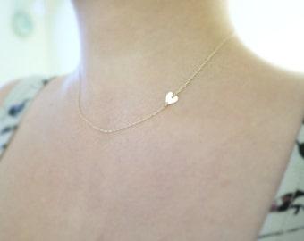 Tiny gold heart necklace - sideways heart , center heart - 14k gf - dainty jewelry