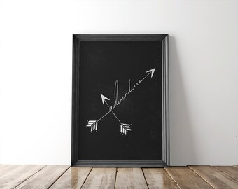 Adventure Fine Art Print // arrow print // wall art // wall decor // illustration // typography // home decor // calligraphy // arrow decor