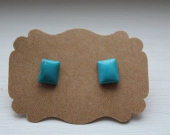 Turquoise Silver Studs, Genuine Turquoise, Genuine Turquoise Posts, Sterling Silver, Sterling Silver Turquoise Earrings, Turquoise Jewelry
