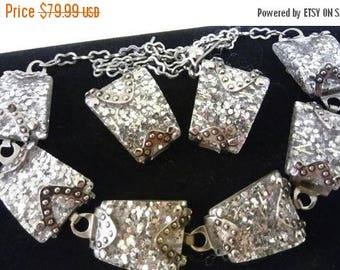 ON SALE Vintage Glitter Necklace Earring Set, Silver Tone Lucite Demi Parure, 1950's 1960's Collectible Accessories, Mad Men Mod, Old Hollyw