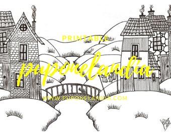 Printable illustration, Printable Art, Mandala illustration, Printable to color, Black and white illustration, Town Illustration