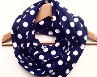 Scarf / womens scarf / loop scarf / infinity scarf / snood / polka dot scarf / blue scarf / navy scarf / Mother's Day gift