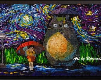 Vincent Van Gogh Starry Night Posters My Neighbor Totoro Inspired Canvas Wall Art Nursery Decor Wall Decor Wall Hang Room Decor A045