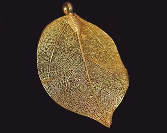 60-75mm Natural real Leaf Metalic Gold Plated Pendant (e7117)