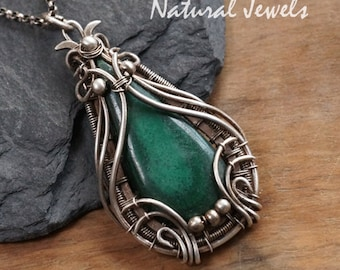 Silver pendant with Malachite - handmade Art Nouveau Jugendstil silver pendant with a cabuchon of the green gemstone Malachite