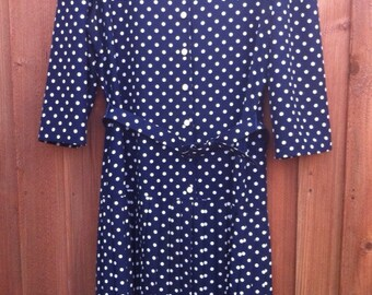 90's Navy Polka Dot dress