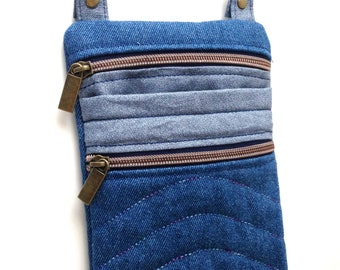 Blue Denim Crossbody Bag Brass Hardware