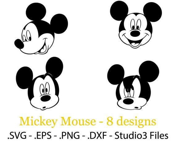 mickey mouse 8 face designs vector cuttable files eps