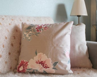 Reversible Cotton Pink and Grey Floral Print Throw Pillow