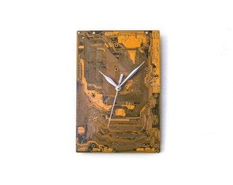 Modern Yellow Clock, Yellow Wall Clock, Circuit Board Clock, Unique Wall Clock, Unique Gift, Boyfriend Gift, Husband Gift, Industrial Clock