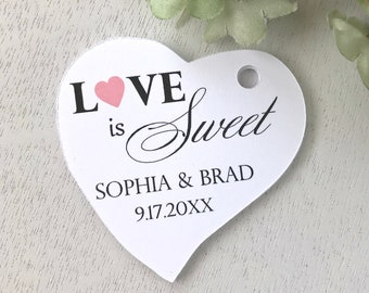 Love is Sweet tags, wedding favor tags, heart tags, anniversary tags, bridal shower labels, treats favor tags, sweets tag - set of 30(tg91)