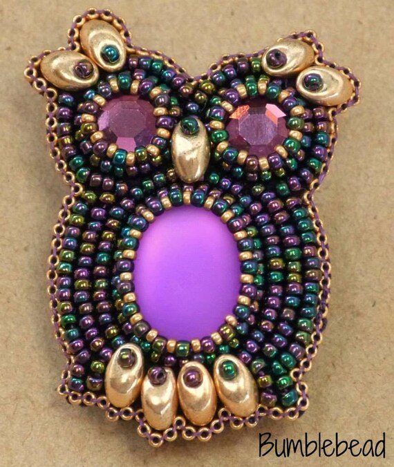 Tutorial bead embroidered owl brooch pdf a seed