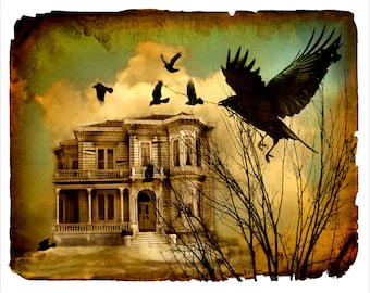 nature photography,crow, raven, house, surreal, sepia, birds, abandoned, mansion, 8x10