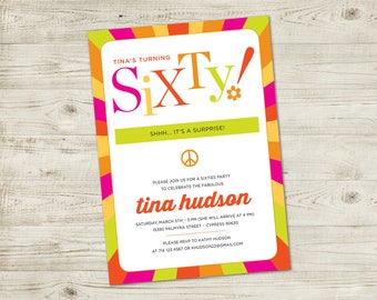 Birthday Party Invitation, Surprise Party, 60's party, Sixties theme party
