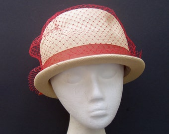 VINTAGE Fine Straw Hat with Orange band & netting