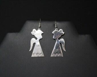 Sterling Silver Angel Dangle Earrings, Sterling Christmas Angel Earrings,  Sterling Silver Holiday Earrings, Sterling silver Angel