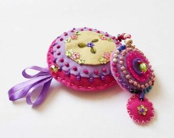 Pink Purple Baby Mobile, Felt Mandala Ornament, Christmas gift idea, Mandala Wall hanging decor, Mandala Mobile, Nursery mobile, yoga room