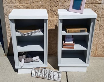 PICK UP ONLY Pair Mid Century Modern bookcases, night stand, storage, retro, bedroom furniture, night table