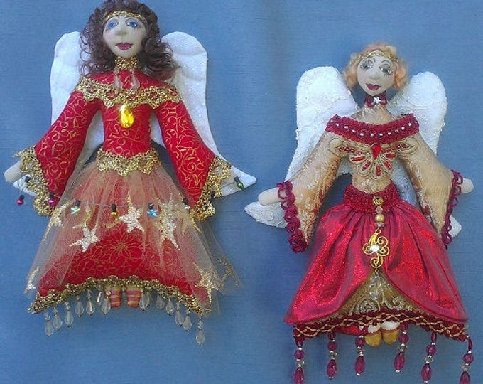 MM259E - ANGELI Di NATALE (Christmas Angels), Cloth Doll Making Pattern, PDF Download Sewing Pattern