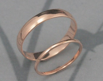 Gold Wedding Set--Choice of Color--Through Thick and Thin Wedding Set--Solid 14K Gold Rounded Wedding Band Set--His and Hers Bands